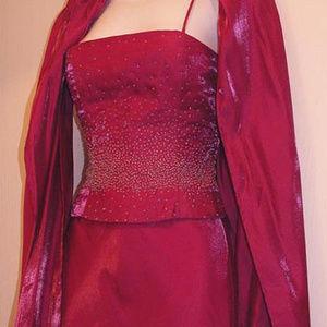 FAVIANA Beaded Gown with Shawl Fuschia Small Long